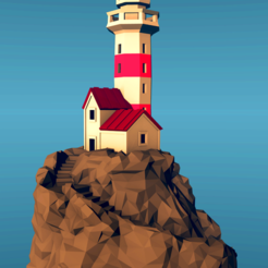 Free 3D printer files  Lighthouse on a rock, low-poly edition, kijai