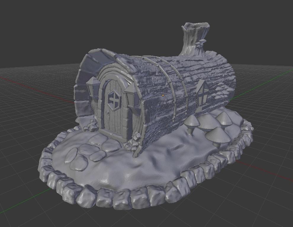 loghouse_blender.jpg Download STL file House in a Log • Template to 3D print, kijai