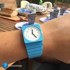 Download 3D printing models 3D Printed Watch Band fo O Clock Watchfaces, XYZWorkshop