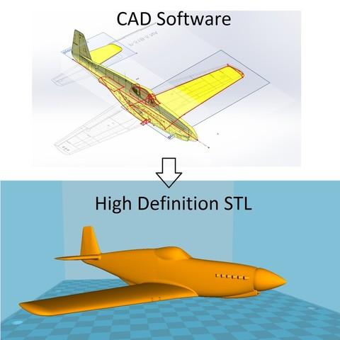 CAD to STL.jpg Download STL file P51 MUSTANG (P51B-5 NA) • 3D printer template, 3Dmodeling