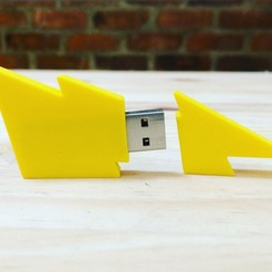 Download free 3D printer designs Lightning Bolt Flash Drive, Cancore_3D