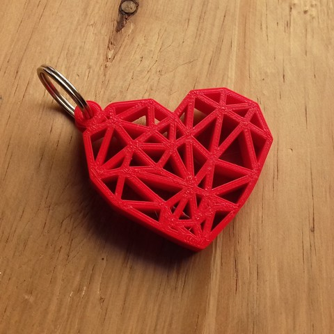 Free 3d printer files Geometric Heart Key Ring, Cancore_3D