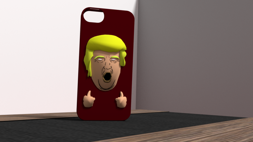 1.png Download OBJ file Trump fuck yeah iphone 5 case • 3D printing template, Ukiyograph
