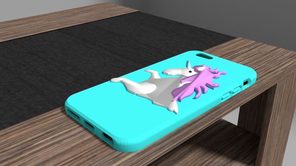licorne1.png Download OBJ file Iphone 6 unicorn shell • 3D printable model, Ukiyograph