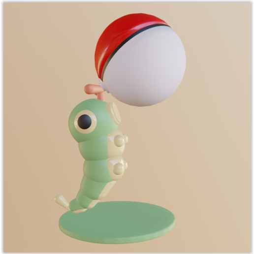 Download 3D model Chenipan / Caterpie with pokeball, Ukiyograph