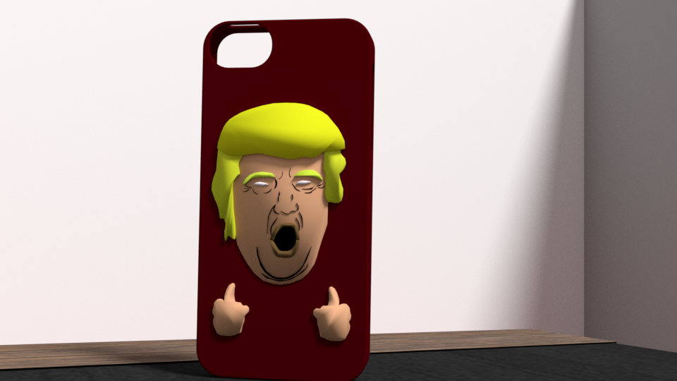 2.png Download OBJ file Trump fuck yeah iphone 5 case • 3D printing template, Ukiyograph