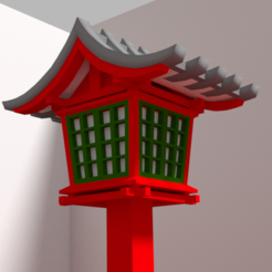 3D print files Japanese outdoor lantern with red foot, Ukiyograph