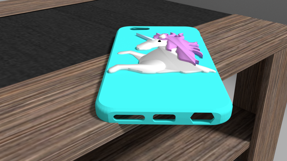 licorne2.png Download OBJ file Iphone 6 unicorn shell • 3D printable model, Ukiyograph