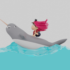 Download 3D model Child pirate on a narwhal, Ukiyograph