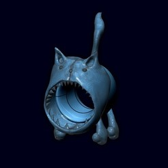 "Download STL file Ring ""Evil Toothy Cat""., 10mll"