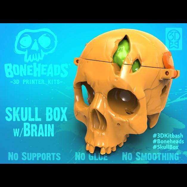 Boneheads_SkullBox_3DKitbash_2.jpg Download free STL file Boneheads: Skull Box w/ Brain - via 3DKitbash.com • Model to 3D print, Quincy_of_3DKitbash
