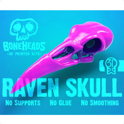 Boneheads_Raven_3DKitbash_1_Header_Cults3d.jpg Download free STL file Boneheads: Raven - Skull Kit - PROMO - 3DKitbash.com • 3D printing template, Quincy_of_3DKitbash