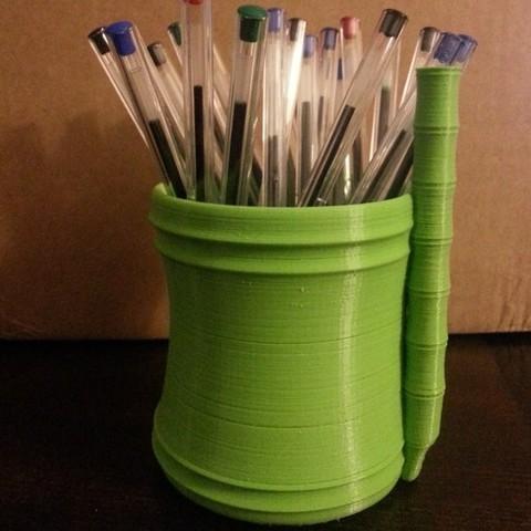 Free 3d print files Bamboo pencil pot, Jaenne