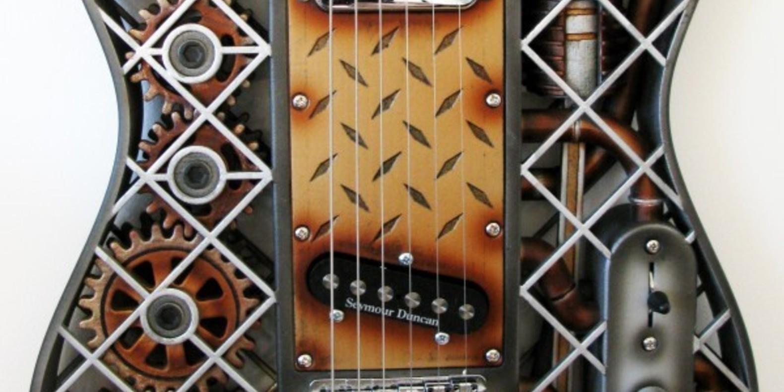 A steampunk guitar printed in 3D