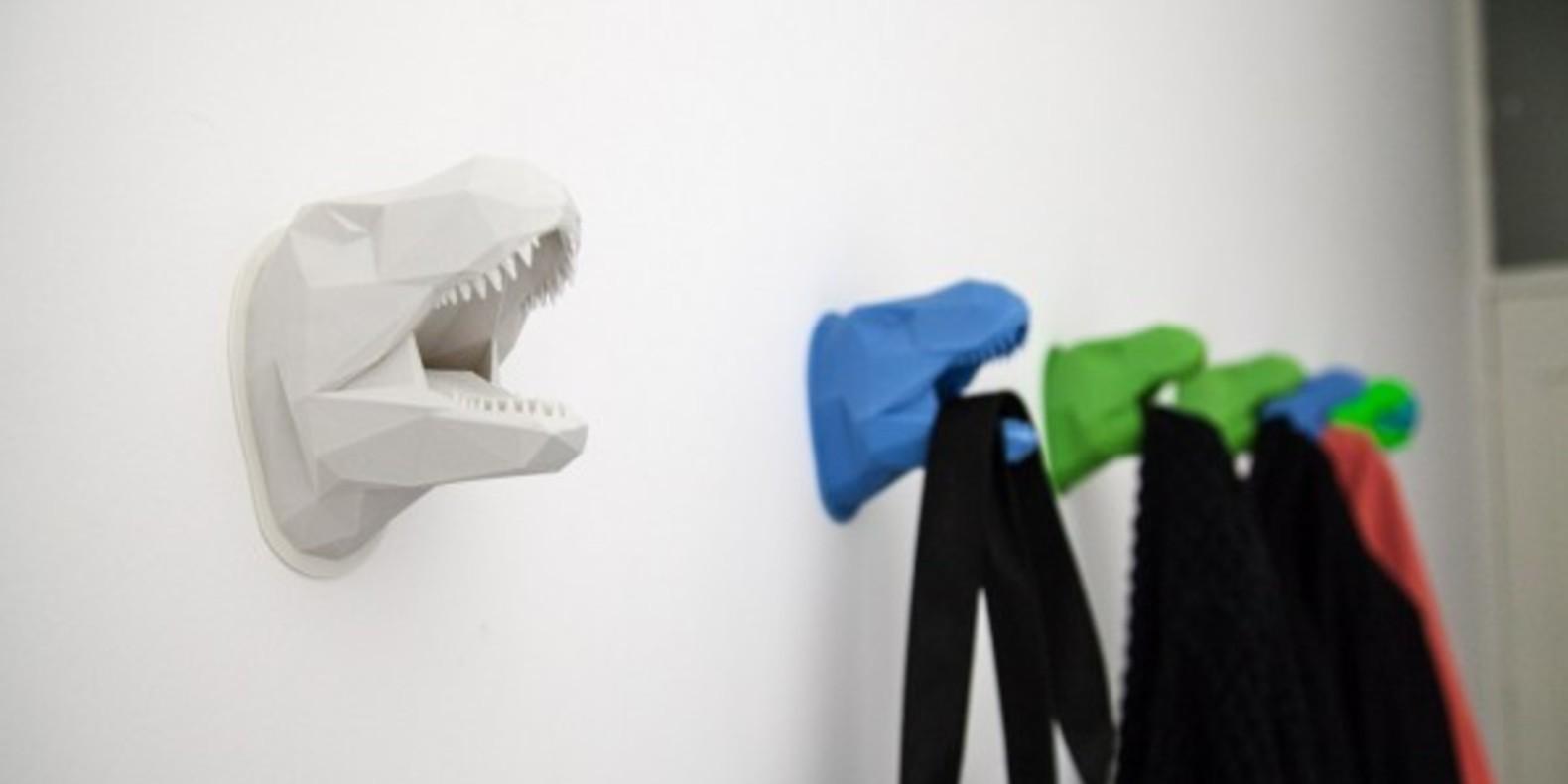 T-Rex coat racks printed in 3D