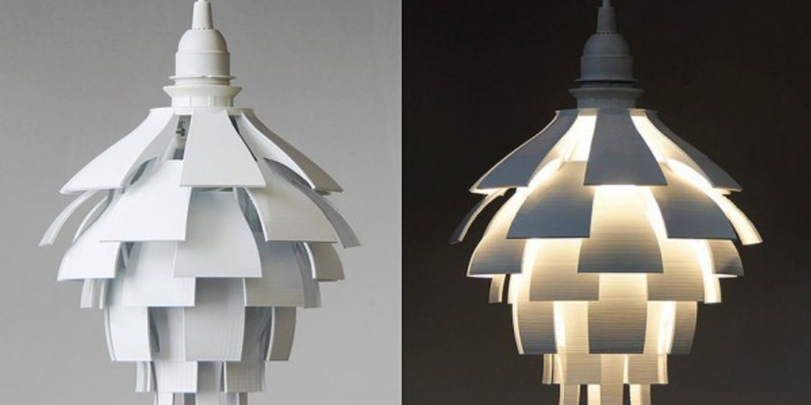 The artichoke lamp printed in 3D