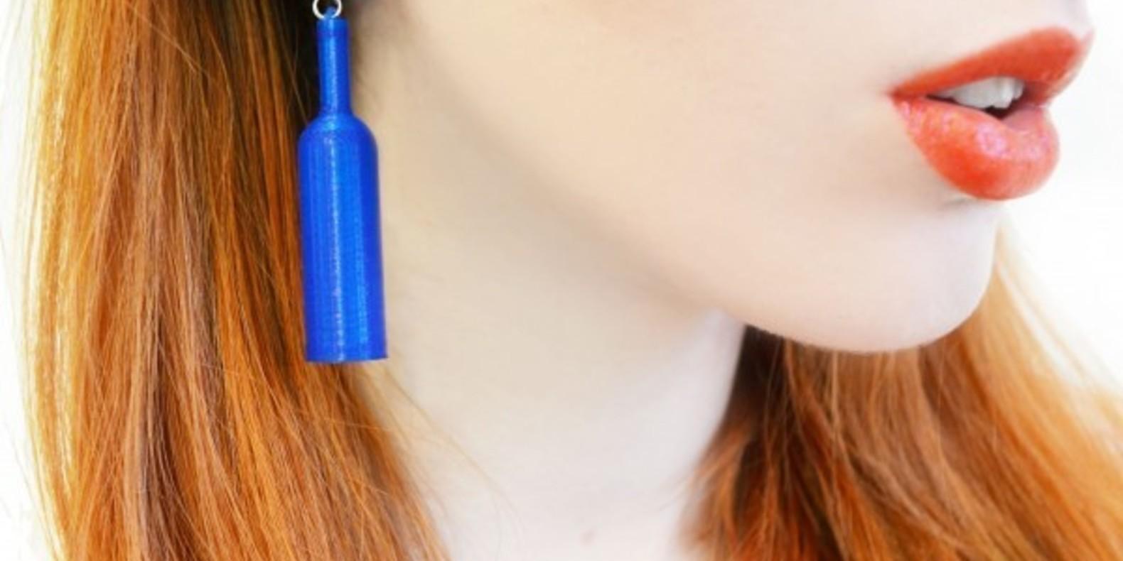 Boucles d'oreilles bouteilles imprimées en 3D