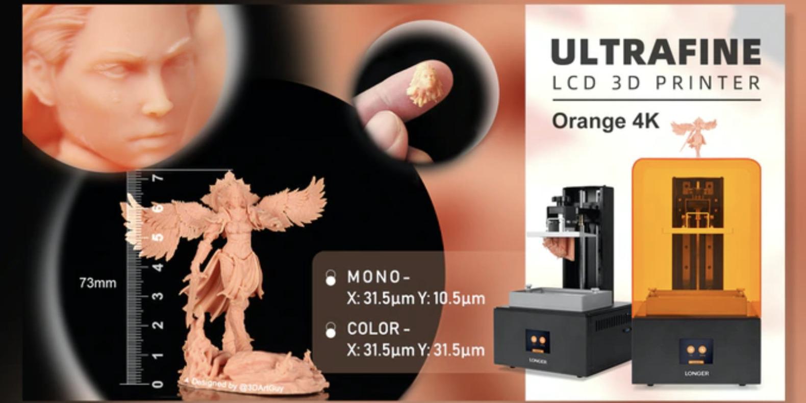 Lancement d'une imprimante 3D résine 4K atteignant les 10/31 microns subpixel sur Kickstarter : la Longer Orange