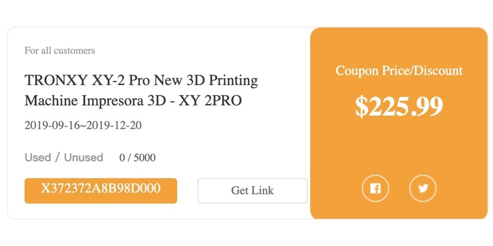Gearbest TRONXY XY-2 Pro New 3D Printing Machine Impresora 3D - XY 2PRO promotion