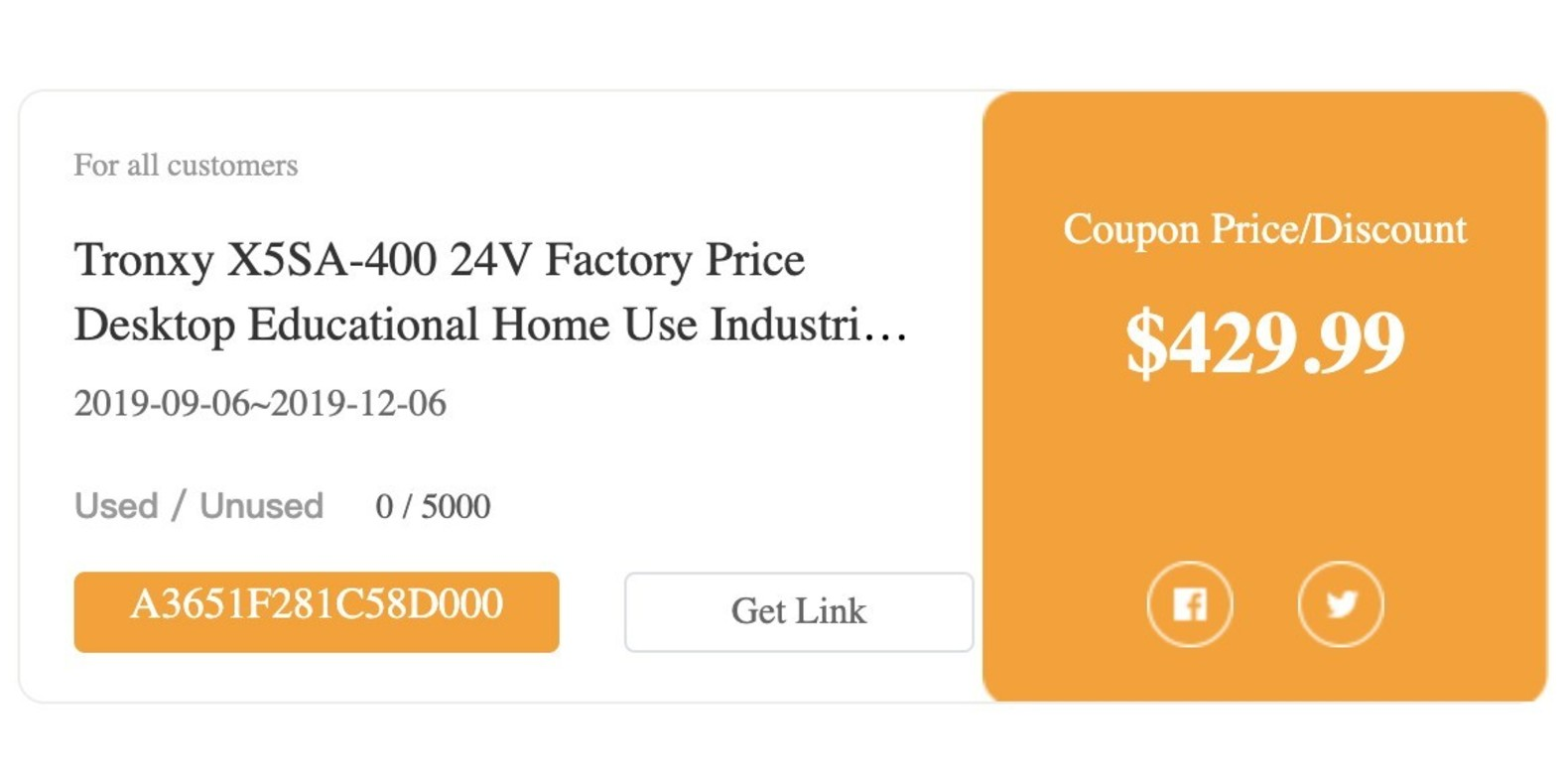 Gearbest Tronxy X5SA-400 24V Factory Price Desktop Educational Home Use Industrial 3D Printer Prusa I3 3D - X5SA 400 24V US promotion