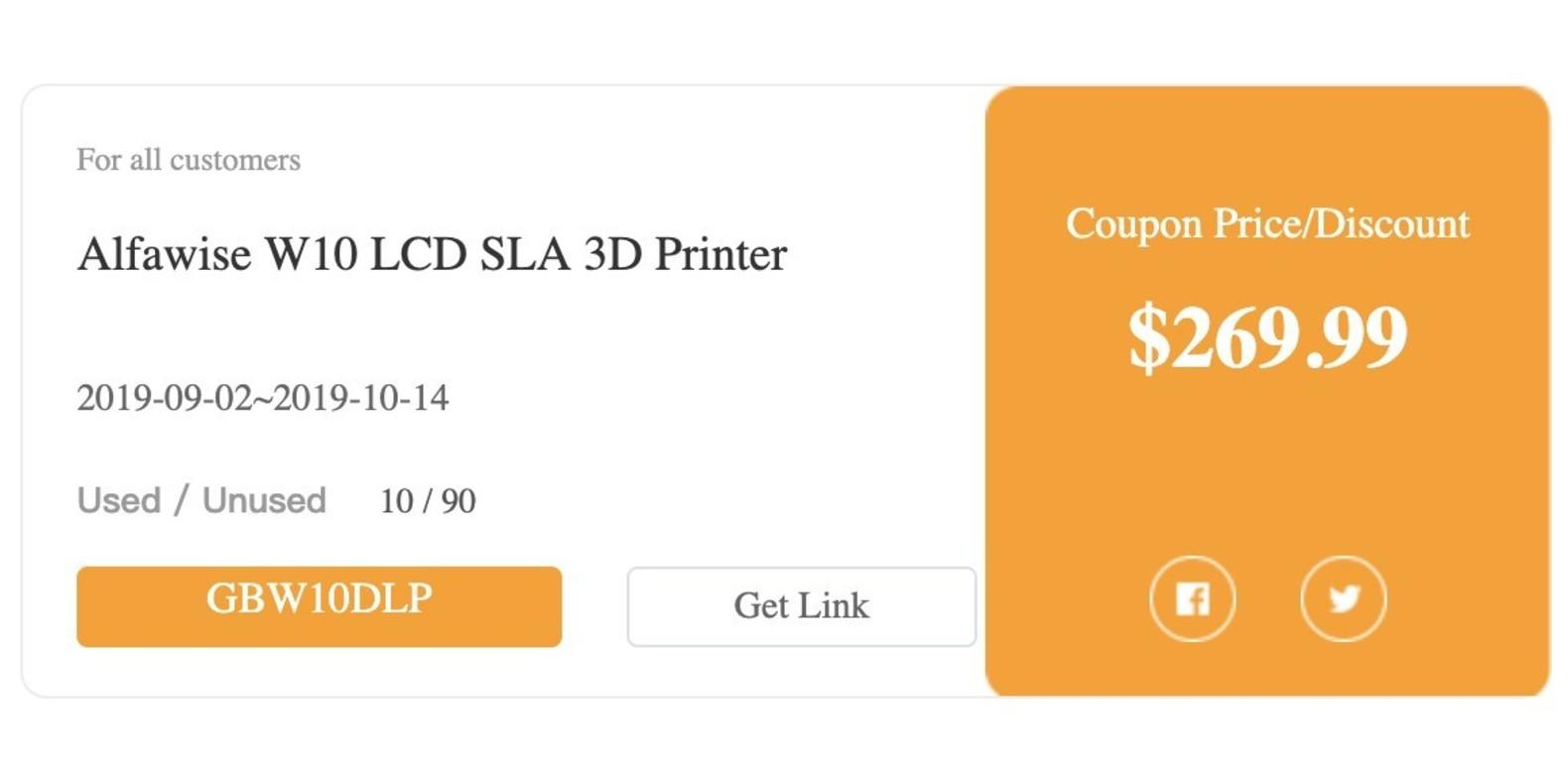 Gearbest Alfawise W10 LCD SLA 3D Printer promotion