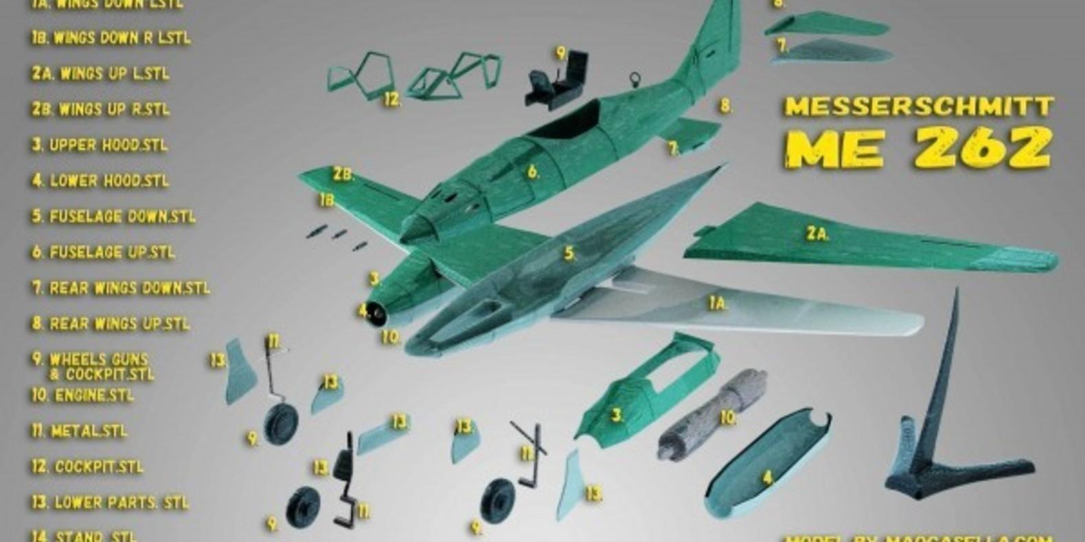 Messerschmitt ME 262 4 - Mao Casella - Cults Cults modélisme 3D printing Impression 3D Fichier 3D