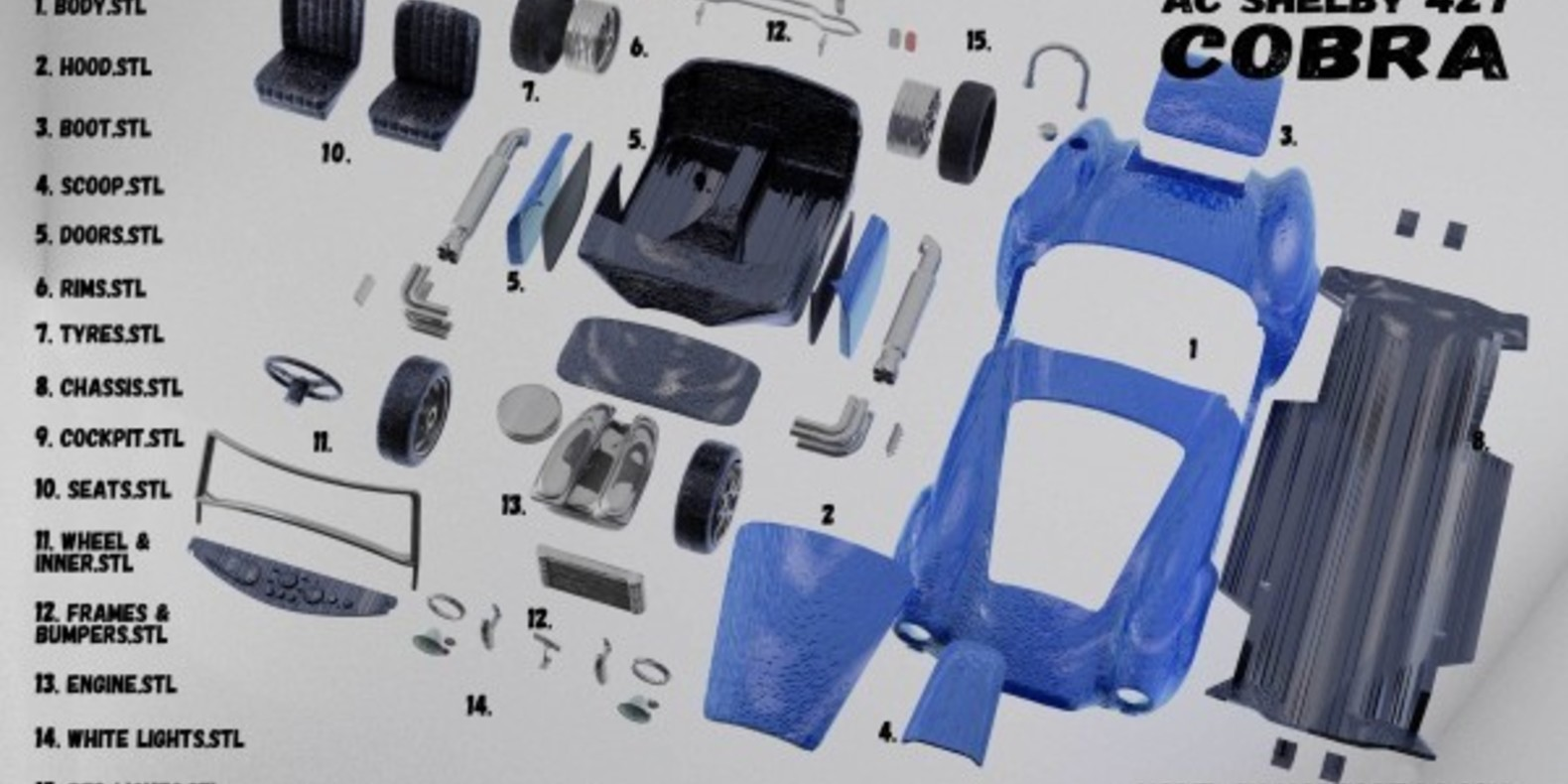 American Sports Car 4 - Mao Casella - Cults modélisme 3D printing Impression 3D Fichier 3D