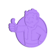 Fallout_Vault-Boy_.stl Download free STL file FALLOUTs VAULT BOY EMBLEM • 3D print template, A_SKEWED_VIEW_3D