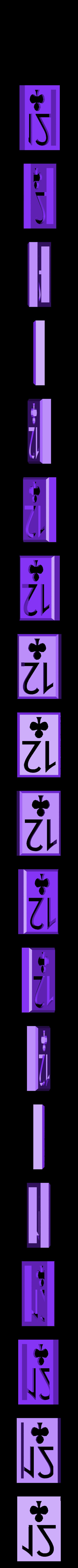 BlockClubs12.stl Download STL file Playing Card Tiles • Object to 3D print, Jinja