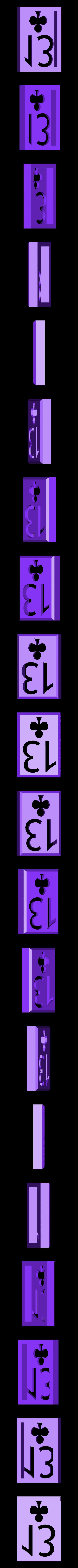 BlockClubs13.stl Download STL file Playing Card Tiles • Object to 3D print, Jinja