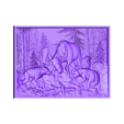 903. Panno.STL Download free STL file Elk and wolfs • 3D print template, stl3dmodel