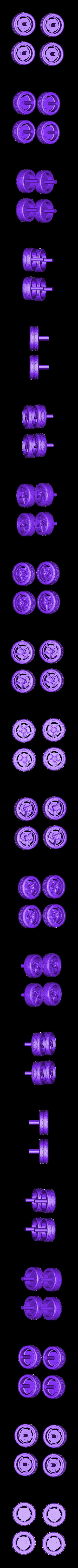 4_Wheels.stl Download free STL file Ford Mustang GT - Model 1:64 • 3D print model, Gophy