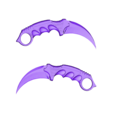 keychain_fixed_-_ready_to_print.stl Download free STL file Karambit CS GO : Fixed + Keychain version • 3D printable object, Gophy