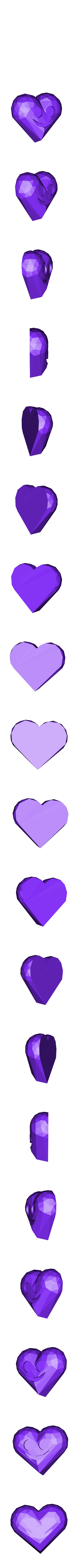 lowpolyheart.stl Download free STL file Low Poly Valentine Day Heart • Template to 3D print, Gophy