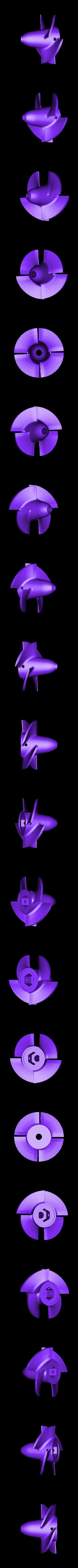 impeller 4 blade.STL Download STL file Water Jet propulsion unit • 3D print design, toto44