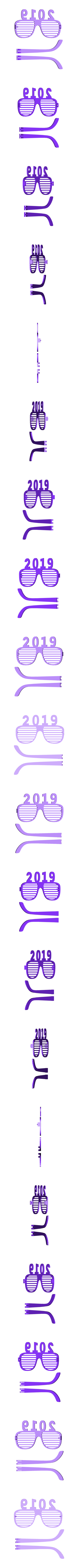 lunettes_2019.stl Download free STL file glasses and key ring 2019 • Template to 3D print, catf3d