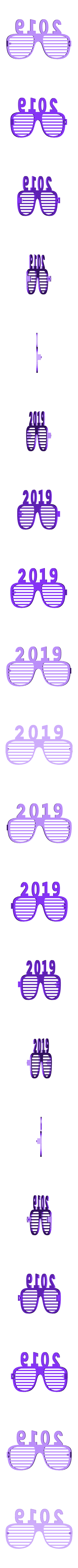 lunettes_2019 divisé.stl Download free STL file glasses and key ring 2019 • Template to 3D print, catf3d