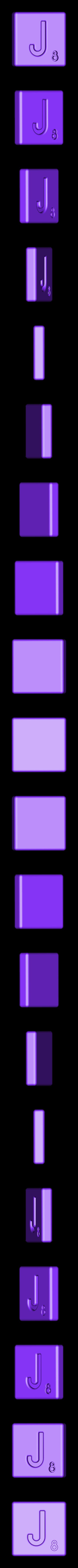 Single_Cut_J.STL Télécharger fichier STL gratuit Pièces et support SCRABBBLE • Design pour imprimante 3D, Balkhagal4D