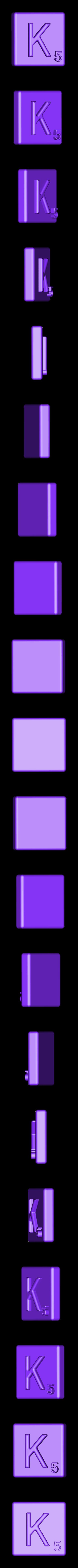 Single_Extruded_K.STL Télécharger fichier STL gratuit Pièces et support SCRABBBLE • Design pour imprimante 3D, Balkhagal4D