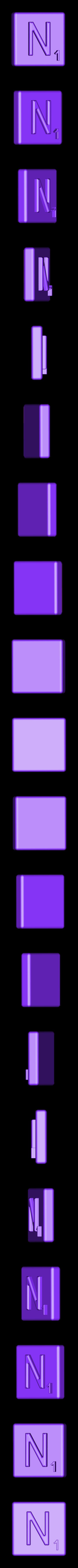 Single_Extruded_N.STL Télécharger fichier STL gratuit Pièces et support SCRABBBLE • Design pour imprimante 3D, Balkhagal4D