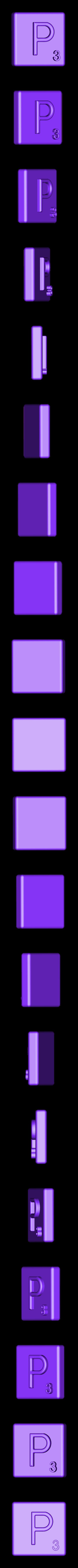 Single_Extruded_P.STL Télécharger fichier STL gratuit Pièces et support SCRABBBLE • Design pour imprimante 3D, Balkhagal4D