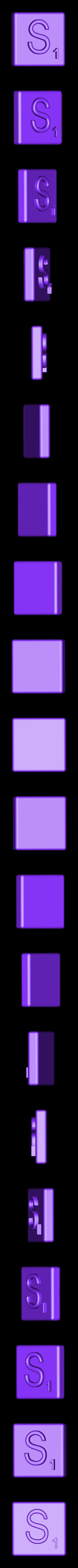 Single_Extruded_S.STL Télécharger fichier STL gratuit Pièces et support SCRABBBLE • Design pour imprimante 3D, Balkhagal4D