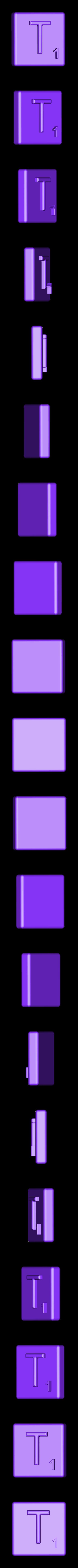 Single_Extruded_T.STL Télécharger fichier STL gratuit Pièces et support SCRABBBLE • Design pour imprimante 3D, Balkhagal4D