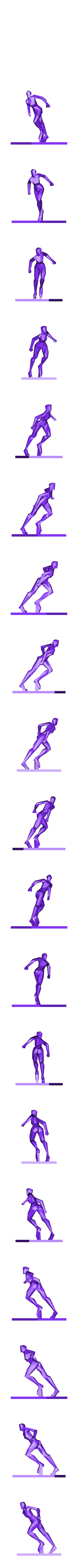 women running stance.obj Download 3DS file woman pose • 3D printing object, formforge
