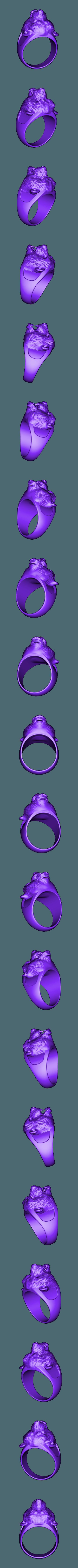 42.stl Télécharger fichier STL gratuit bague agressive en forme d'ours • Objet pour imprimante 3D, 3DPrinterFiles
