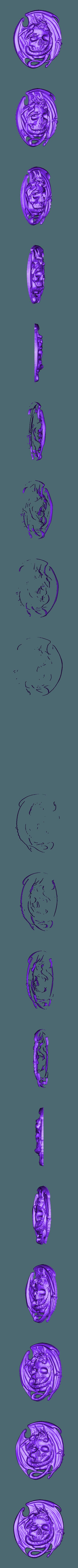 291.stl Download free STL file Skull with dragon cnc router art  • 3D printing model, Terhrinai