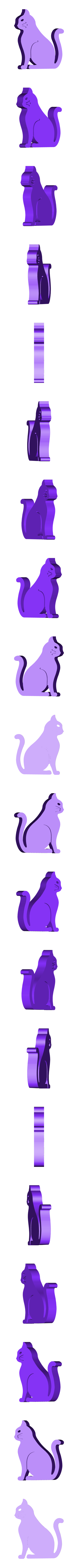cat.stl Download free STL file Cat - Sitting with Whiskers (Countersunk Grooves) • Template to 3D print, Muzz64