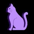cat.stl Télécharger fichier STL gratuit Chat - Assis avec des moustaches (rainures fraisées) • Plan imprimable en 3D, Muzz64