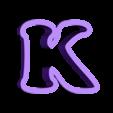 k.stl Download free STL file A-Z alphabet cookie cutter • 3D printer design, BlackSand3DMaker