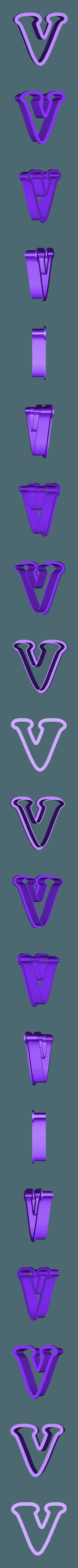 v.stl Download free STL file A-Z alphabet cookie cutter • 3D printer design, BlackSand3DMaker